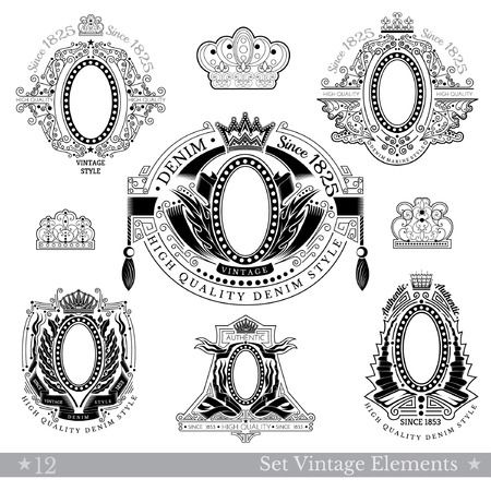 white coat: Set Of Oval Frame With Different Pattern Around. Vintage Banners With Coat of Arms Isolated On White