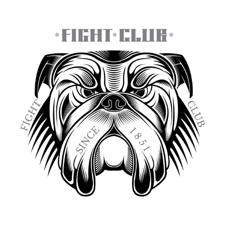 Head of bulldog in engraving style black on white