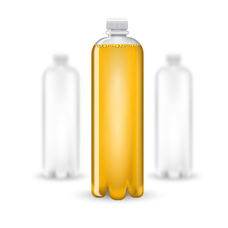aerated: Three realistic mock up white plastic bottle with yellow drink on white background. Vector illustration one bottle sharp and two bottles depth of field