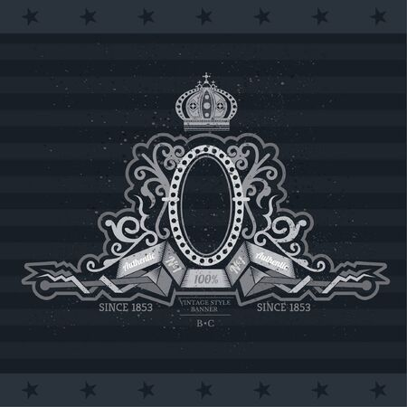 forged: Oval Frame On The Winding Ribbons Between Forged Pattern. Vintage Label With Coat of Arms On Blackboard Illustration