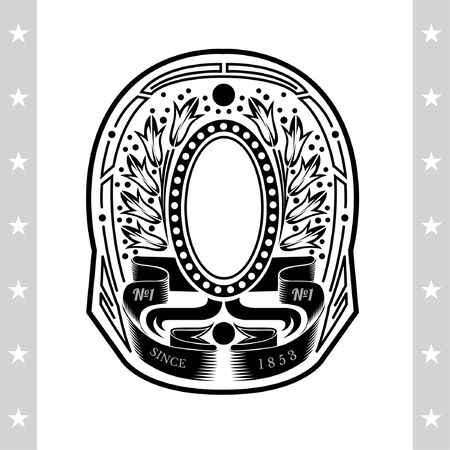 palm wreath: Oval Frame On Winding Ribbons And  Between Flower Wreath. Vintage Label With Coat of Arms Isolated On White