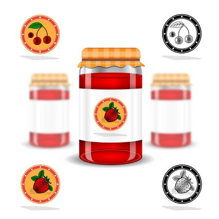 preservation: Three realistic mock up glass jar with jam home preservation and fruit labels on white background. Vector illustration one jar sharp and two jars depth of field Illustration