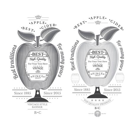 cider: Engraving style apple with barrel for text in the center. Cider label isolated on white