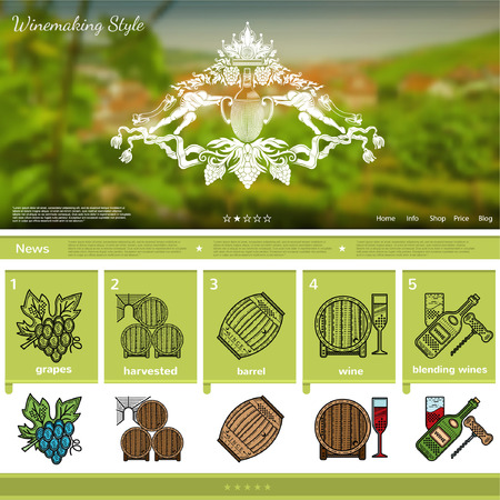 wine making: Wine making website page template on grapes region blurred background
