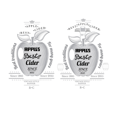 cider: Engraving style apple with lettering on it. Cider label isolated on white