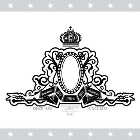 forged: Oval Frame On The Winding Ribbons Between Forged Pattern. Vintage Label With Coat of Arms Isolated On White Illustration