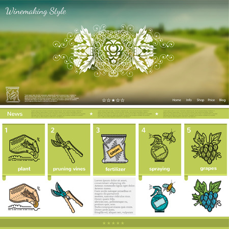 wine making: Wine making website page template on green grapes field blurred background