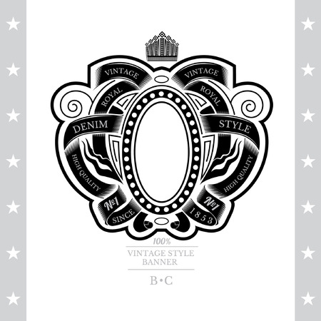 white coat: Oval Frame Between Pattern Of Winding Ribbons. Vintage Label With Coat of Arms Isolated On White