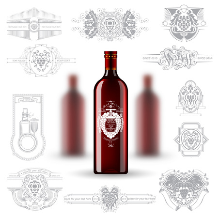 depth: Three realistic mock up red bottle of wine and set of silhouette labels on white background. Vector illustration one bottle sharp and two bottles depth of field