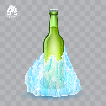 Green bottle of beer iceberg on transparent background