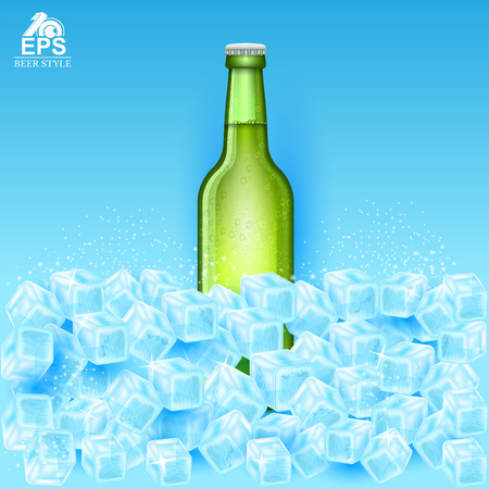 Realistic mock up green bottle of beer among ice cubes on blue background