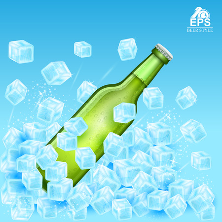 realistic mock up green bottle of beer flies out of ice cubes on blue background