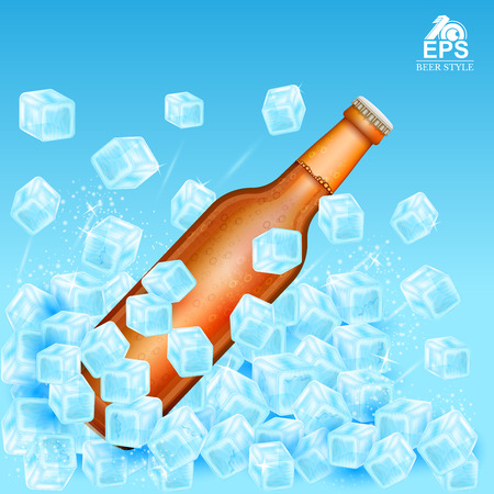 realistic mock up brown bottle of beer flies out of ice cubes on blue background