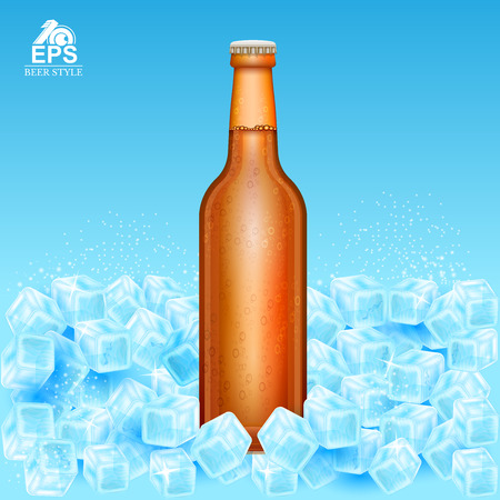 Realistic mock up brown bottle of beer on ice cubes on blue background Çizim