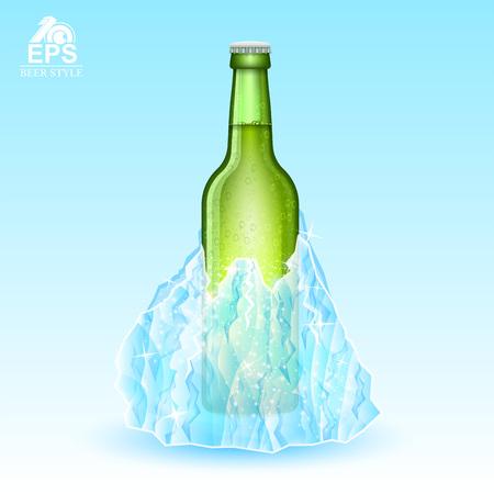 Green bottle of beer rozen-in iceberg on blue background Illustration