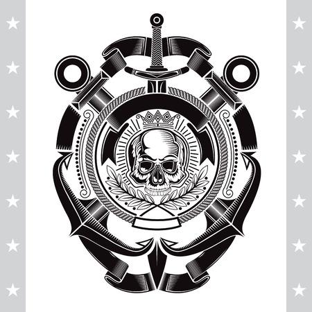 クロスアンカーと垂直剣を備えた中央ロープフレームの頭蓋骨正面図。白で隔離されたヘラルド海洋ヴィンテージラベル  イラスト・ベクター素材