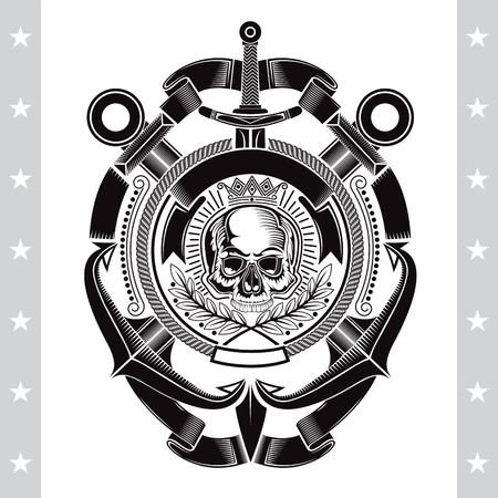 Skull front view in center rope frame with cross anchors and vertical sword. Heraldic marine vintage label isolated on white Ilustrace