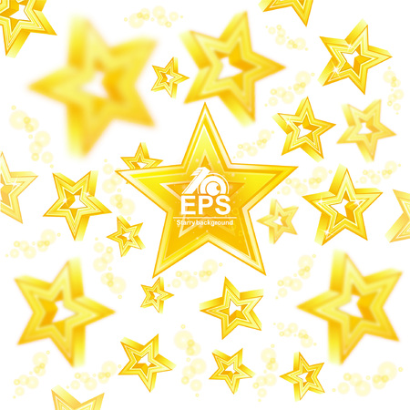 Golden stars with depth of field effect flying around big star in center Illustration