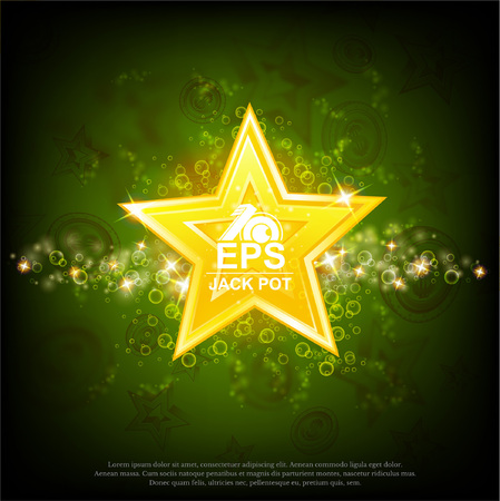 Big gold star with shiny effects on abstract green background