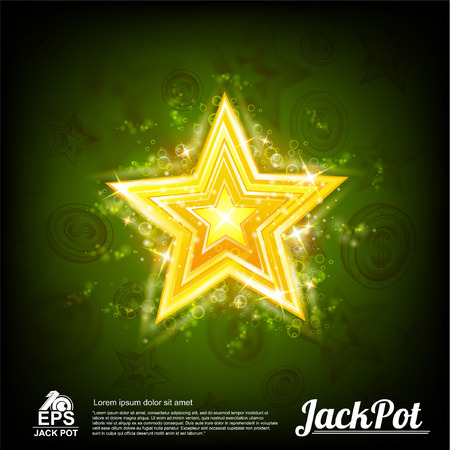 Big gold star with shiny effects around on abstract green background Ilustração