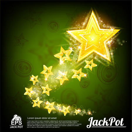 Flying gold star with tiny stars tail and shiny effects on abstract green background Vectores