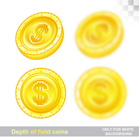 Gold coins in different position with sharp and depth of field effect
