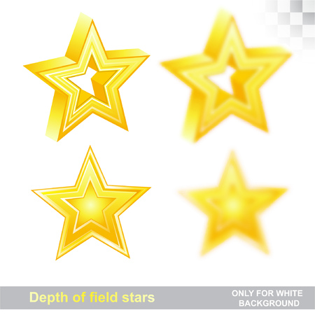 Gold stars on white in different position with sharp and depth of field effect Ilustração