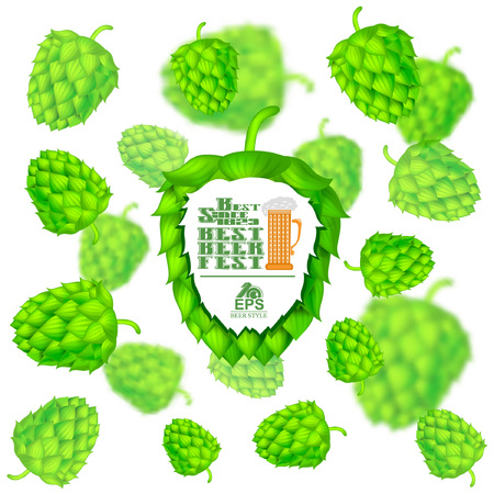 Beer festival banner in front of realistic hop cones flying on white background with depth of field effect Ilustração