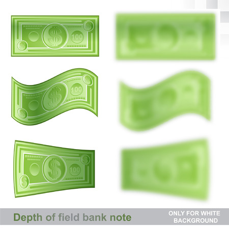 One hundred dollars flat banknotes in different position with sharp and depth of field effect