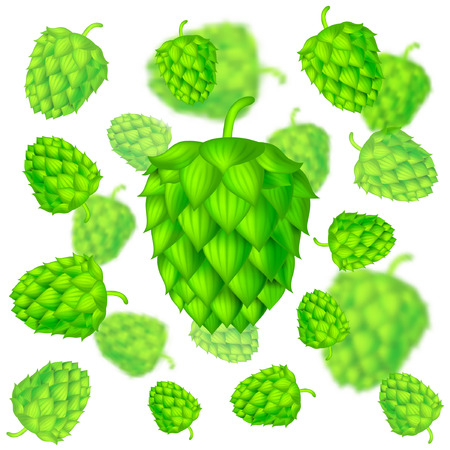 Realistic hop cones flying on white background with depth of field effect Ilustração