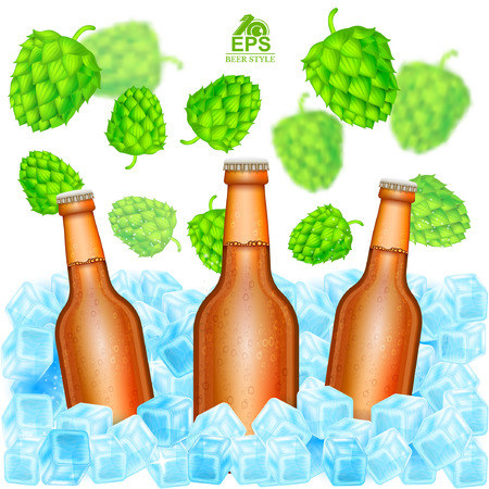 Three realistic brown bottle of beer stand in ice cubes among flying depth of field hop cones on white background