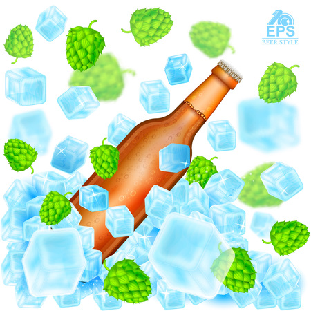 Realistic brown bottle of beer flies out from ice cubes among flying depth of field hop cones and ice on white