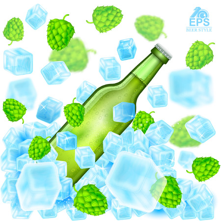 Realistic green bottle of beer flies out from ice cubes among flying depth of field hop cones and ice on white