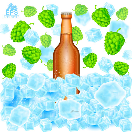 Realistic brown bottle of beer stand in ice cubes among flying hop cones and depth of field ice on white
