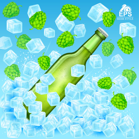 realistic green bottle of beer flies out in ice cubes among flying hop cones and ice on blue background Illustration