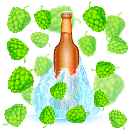 Realistic mock up green bottle of beer frozen-in iceberg among depth of field hop cones on white background