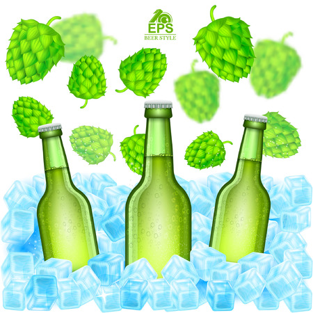 Three realistic green bottle of beer stand in ice cubes among flying depth of field hop cones on white background Illustration