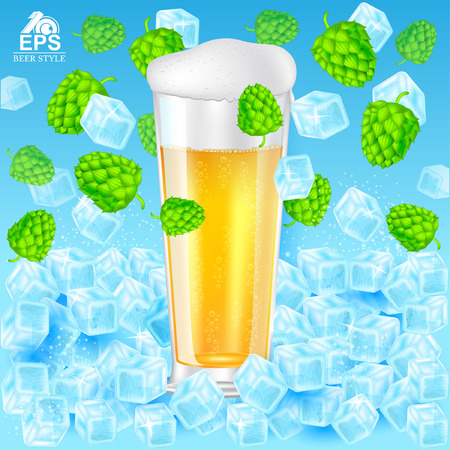 Realistic mock up glass of beer with foam stand in ice cubes among hop cones and ice on blue background