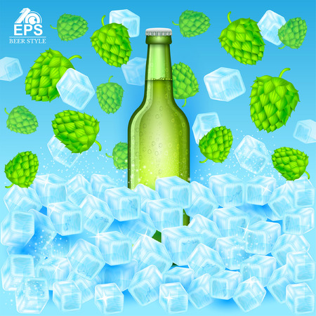 Realistic green bottle of beer stand in ice cubes among hop cones and ice on blue background Illustration