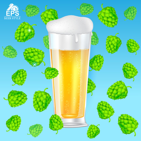 Realistic mock up glass of beer with foam among flying hop cones on blue background