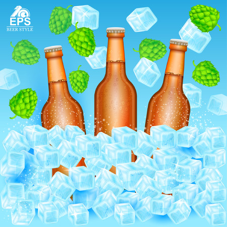 Three realistic brown bottle of beer stand in ice cubes among flying hop cones and ice on blue background