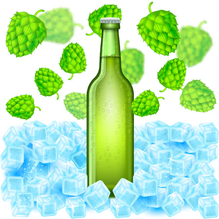Realistic green bottle of beer stand in ice cubes among flying depth of field hop cones on white background