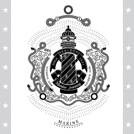 Frame from line pattern and lighthouse with round ribbon in center. Marine vintage label on white Illustration