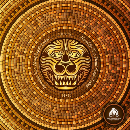 Round greek tile geometric background with lion face in center