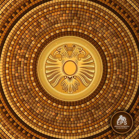 Round greek tile geometric background with two head eagle in center Illustration