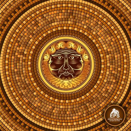 中央にひげの神の顔を持つ円形のギリシャタイル幾何学的背景