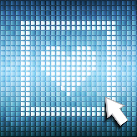 Icon of like mark hjeart in square frame on computer pixel blue background