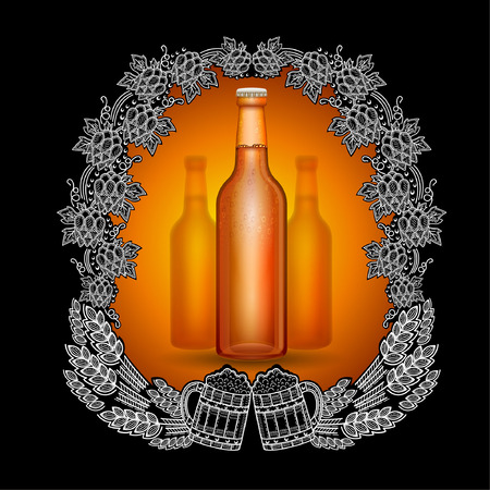Realistic beer brown bottle in the center of blackboard with scratchboard style frame from hop cons, spicas and two mugs