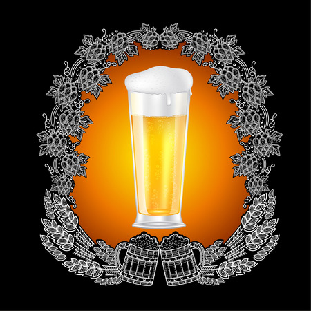 Realistic beer glass in the center of blackboard with scratchboard style frame from hop cons, spicas and two mugs