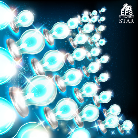 Abstract bright background with star shape from blue bulbs on left side